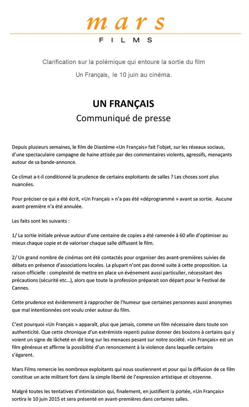 Un Français - Communiqué de presse Mars Films