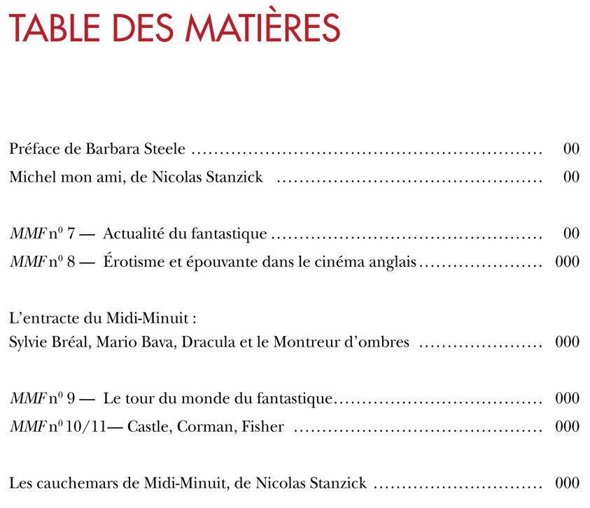 Midi-Minuit Fantastique - Table des matières Vol 2