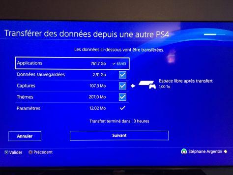 PlayStation 4 Pro - Transfert données
