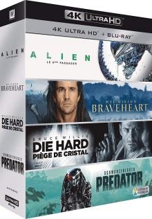 Coffret 4K Culte : Alien, le huitième passager + Braveheart + Piège de cristal + Predator - Packshot Blu-ray 4K Ultra HD