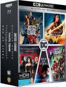 Coffret DC Comics 5 films : Justice League + Wonder Woman + Suicide Squad + Batman v Superman + Man of Steel - Packshot Blu-ray 4K Ultra HD