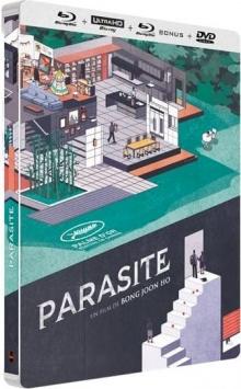Parasite (2019) de Bong Joon-ho - Édition Collector boîtier SteelBook – Packshot Blu-ray 4K Ultra HD