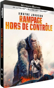 Rampage - Hors de contrôle (2018) de Brad Peyton - Édition boîtier SteelBook - Packshot Blu-ray 4K Ultra HD