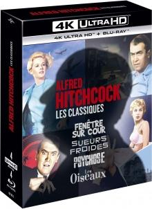 Alfred Hitchcock – Coffret : Fenêtre sur Cour + Les Oiseaux + Psychose + Sueurs Froides – Packshot Blu-ray 4K Ultra HD