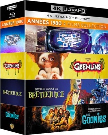 Années 1980 - 4 films collection : Les Goonies + Gremlins + Beetlejuice + Ready Player One – Packshot Blu-ray 4K Ultra HD