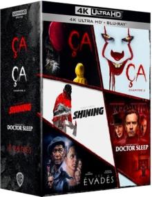 Coffret Stephen King : Les Evadés + Ça, chapitre 1 + Ça, chapitre 2 + Doctor Sleep + Shining – Packshot Blu-ray 4K Ultra HD
