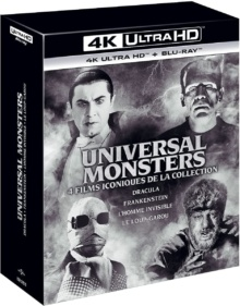 Coffret Universal Monsters : Dracula + Frankenstein + L'Homme Invisible + Le Loup-Garou – Packshot Blu-ray 4K Ultra HD
