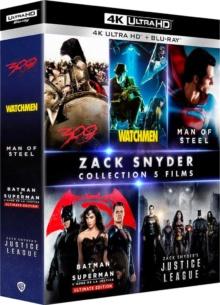 Coffret Zack Snyder : 300 + Watchmen - Les gardiens + Man of Steel + Batman v Superman : L'aube de la justice + Zack Snyder's Justice League – Packshot Blu-ray 4K Ultra HD