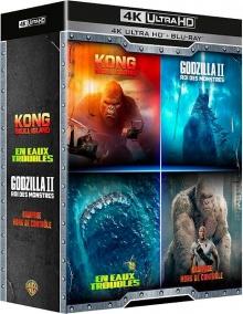 Godzilla : Roi des monstres + Kong : Skull Island + Rampage - Hors de contrôle + En eaux troubles – Packshot Blu-ray 4K Ultra HD