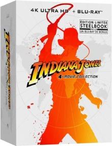 Indiana Jones (1981 – 2008) de Steven Spielberg – Coffret 4 Films – Édition Steelbook – Packshot Blu-ray 4K Ultra HD