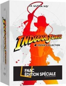 Indiana Jones (1981 - 2008) de Steven Spielberg - Coffret 4 Films – Steelbook Exclusivité Fnac – Packshot Blu-ray 4K Ultra HD