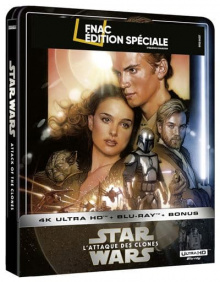 Star Wars, épisode II – L'Attaque des clones (2002) de George Lucas - Steelbook Édition Spéciale Fnac - Packshot Blu-ray 4K Ultra HD