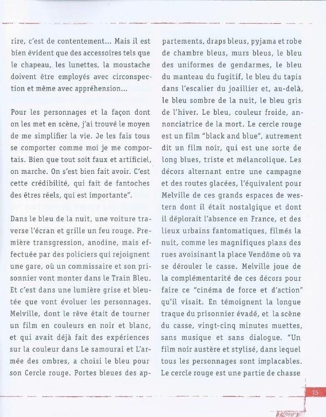 Le cercle rouge (1970) de Jean-Pierre Melville – Édition StudioCanal 2010 - Extrait Livret